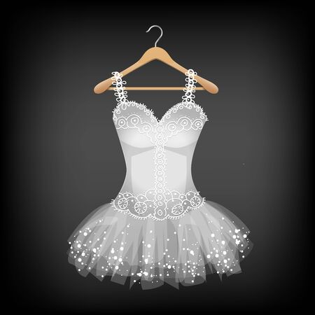 White Dress with Lace on hanger illustration. Ilustrace