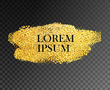 Gold stain glittering texture. Vector gold design element on dark transparency background.