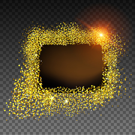 Gold textured frame on dark background, shiny glitter vector illustration.