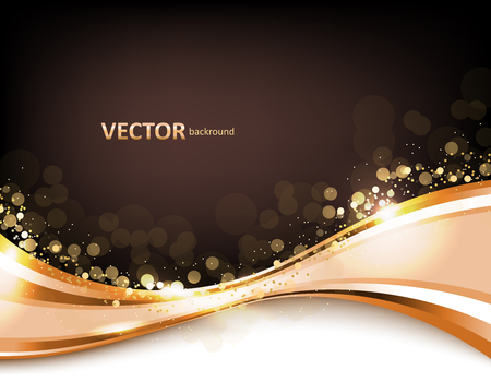 Gold abstract elegant background with lines and flash lights, gold texture, vector illustration.