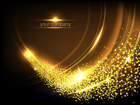 Gold shiny waves and fire with glitter effect, light abstract horizontal vector background. Ilustração