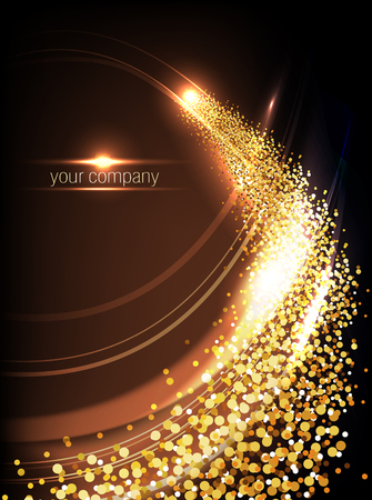 Gold shiny waves and fire with glitter effect, light abstract vertical vector background