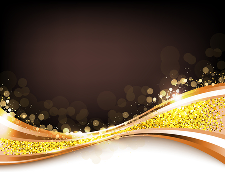 Gold abstract elegant background with lines and flash lights, gold texture, vector illustration