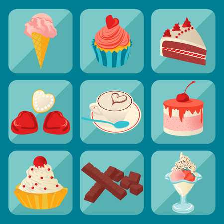 coffee berry: vector pictures of coffee and sweets in the style flat Illustration