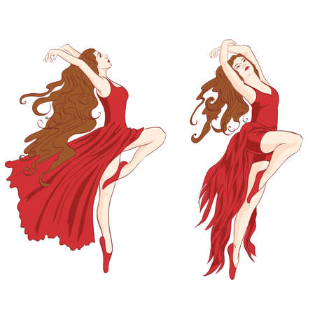 contemporary dance: vector girls in red dress dancing contemporary dance Illustration