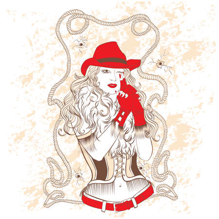 cowgirl and cowboy: vector stylish cowgirl in a red hat and red gloves
