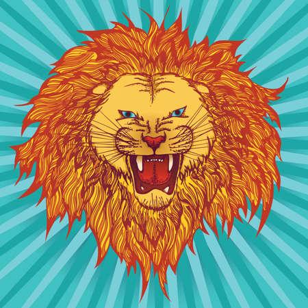 roaring: Vector illustration of a roaring grin lion