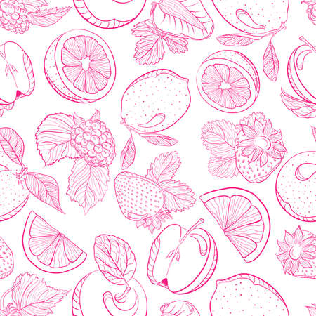 fruity: Vector drawing. Seamless monochrome pattern fruity berry mix