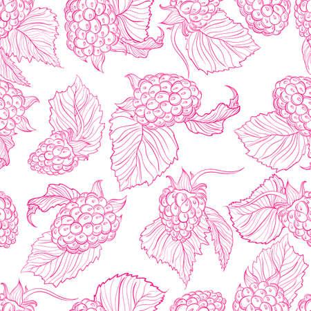 raspberries: Vector monochrome pattern of raspberries Illustration