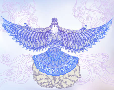 dove flying: Vector decorative illustration of a dove flying out of human hands
