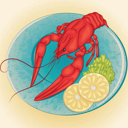 lobule: Vector illustration of crayfish on a plate with slices of lemon and green salad