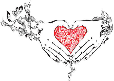 folded hands: Vector illustration of hands folded in the shape of heart