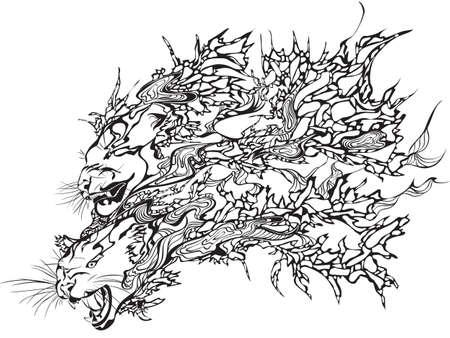 snarling: Abstract vector illustration of a black snarling tiger