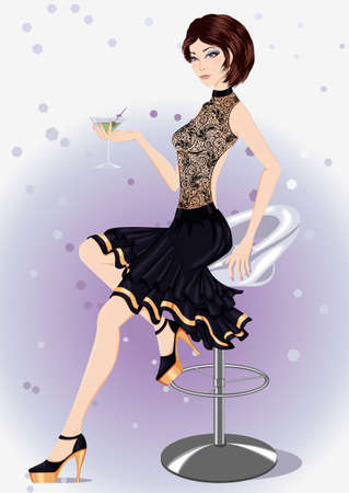 nude girl young: Vector illustration of a girl in a black evening dress with a glass in his hand sitting on a bar chair