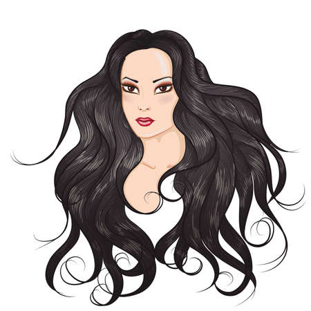 japanese style: Vector illustration face of Asian girl with long hair