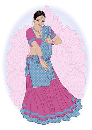 Vector illustratie van een Indisch meisje in traditionele Indiase kleding