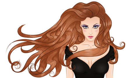 nude girl young: Vector illustration portrait of a young woman with long hair in a black dress