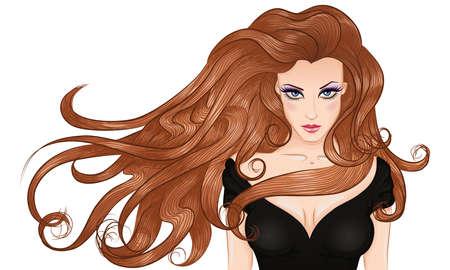 junge nackte m�dchen: Vektor-Illustration Portr�t einer jungen Frau mit langen Haaren in einem schwarzen Kleid