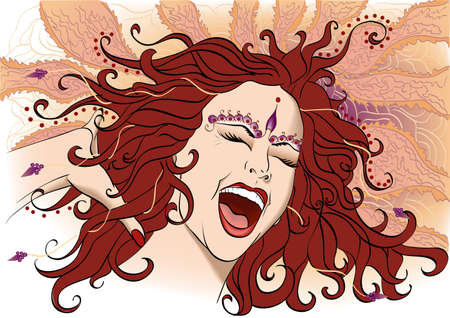 animated women: Vector illustration portrait of a young screaming woman Illustration
