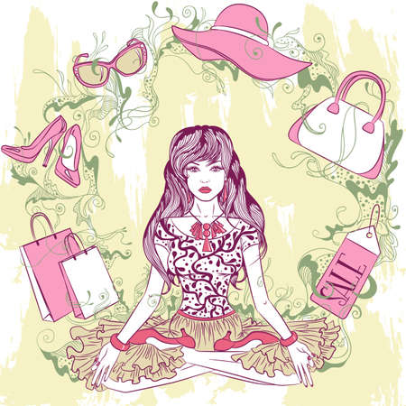 young woman sitting: Fashion vector illustration. Stylish young woman sitting in lotus position with the mandala of fashion accessories Illustration