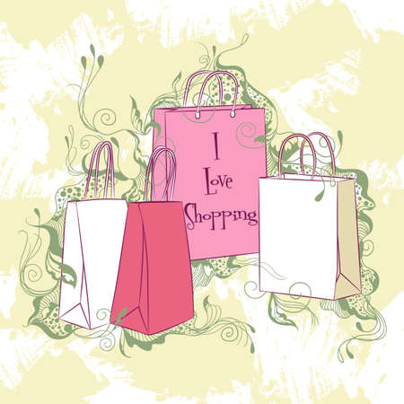 fashion: Decorative vector illustration set of various shopping bags Illustration