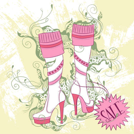 Vector decorative fashion illustration pair of womens high boots, on grunge background with floral ornaments