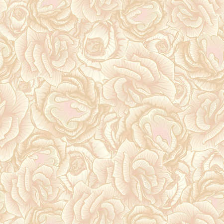 rose flowers: Vector seamless floral pattern consists of beige rose flowers