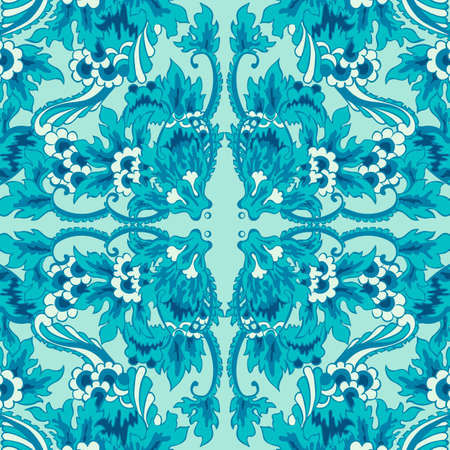 Vector decorative seamless flower pattern turquoise color