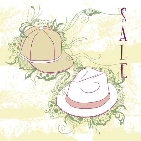 period costume: Vector decorative fashion illustration mens hats, on grunge background with floral ornaments