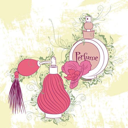 fragrance: Vector decorative stylish illustration perfume bottles, on grunge background with floral ornaments