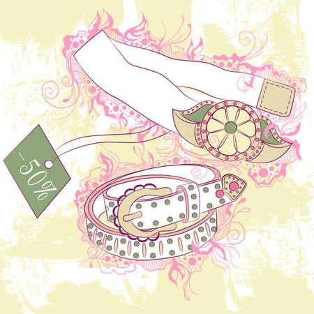 belts: Vector decorative fashion illustration of womens belts, on grunge background with floral ornaments Illustration