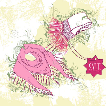scarves: Vector decorative fashion illustration of womens scarves, on grunge background with floral ornaments Illustration