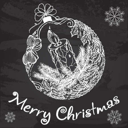 christmas candle: Vector decorative Christmas ball with a candle and a wreath of mistletoel on the chalkboard. Vector illustration for Christmas and New Year Illustration