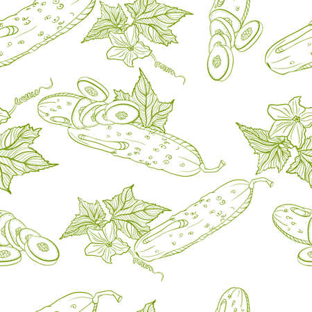 cucumbers: Vector monochrome seamless pattern of cucumbers on white background Illustration