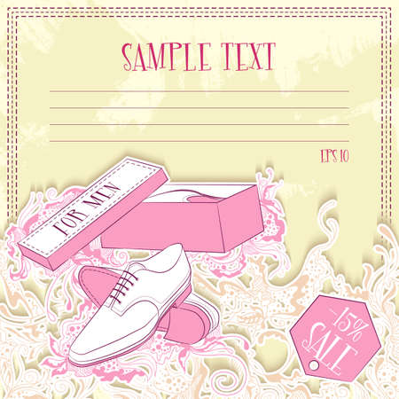 Vector illustration of message card with men shoes. Design for notebook, diary, sticker, greeting card