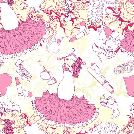 fashion accessories: Vector seamless background pattern with evening dress and fashion accessories