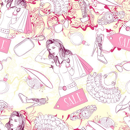 fashion accessories: Vector seamless background pattern with surprised woman and fashion accessories