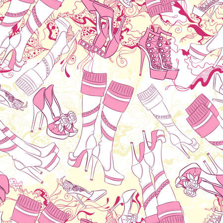 fashion accessories: Vector seamless background pattern with women boots and fashion accessories Illustration