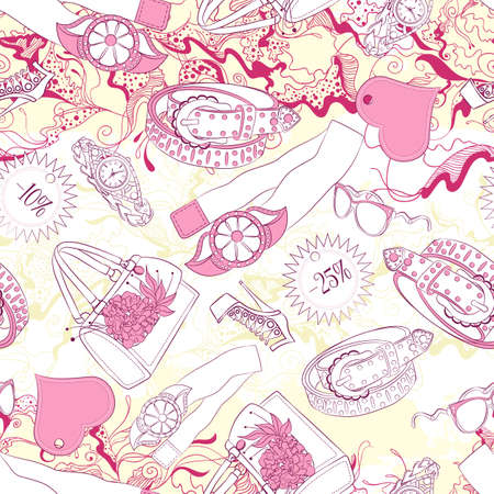 belts: Vector seamless background pattern with women belts and fashion accessories