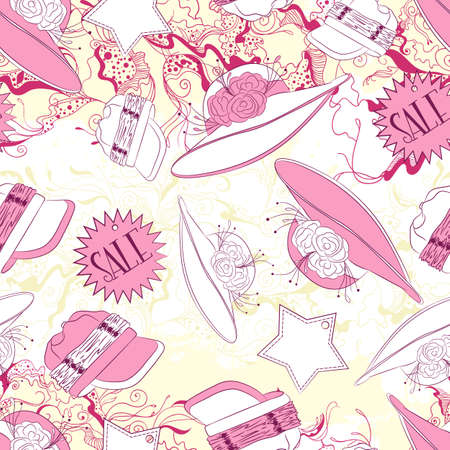 fashion accessories: Vector seamless background pattern with ladies hats and fashion accessories