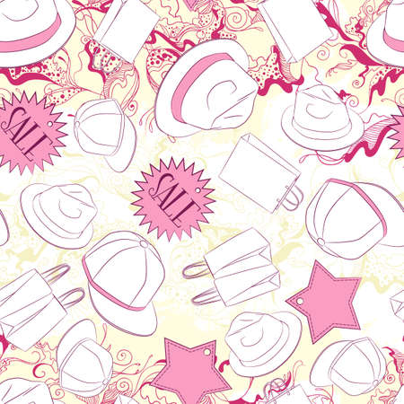 beautiful boy: Vector seamless background pattern with men hats and fashion accessories Illustration
