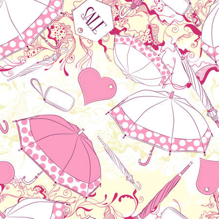 fashion accessories: Vector seamless background pattern with umbrellas and fashion accessories