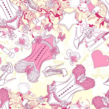 corset: Vector seamless background pattern with corset underwear and fashion accessories