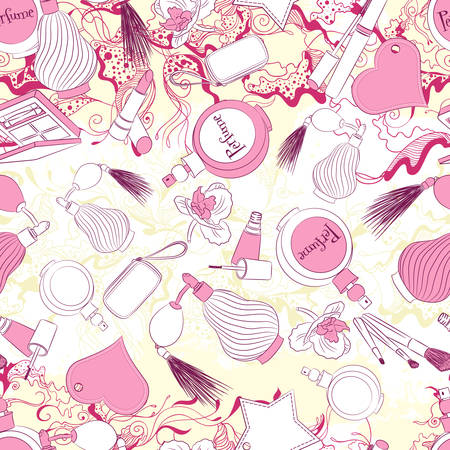 fashion accessories: Vector seamless background pattern with perfumes and fashion accessories Illustration