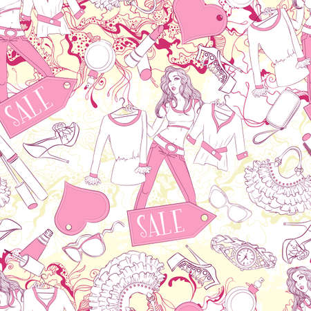 fashion accessories: Vector seamless background pattern with pondered woman and fashion accessories