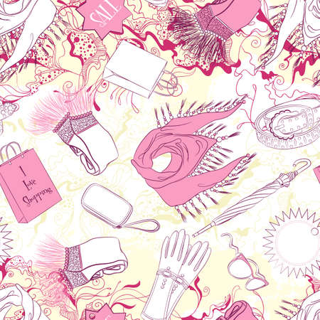 scarves: Vector seamless background pattern with women scarves and fashion accessories
