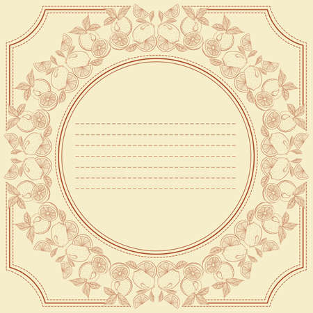 citrus fruits: Vector vintage frame card with citrus fruits. Design for notebook, diary, sticker, greeting card