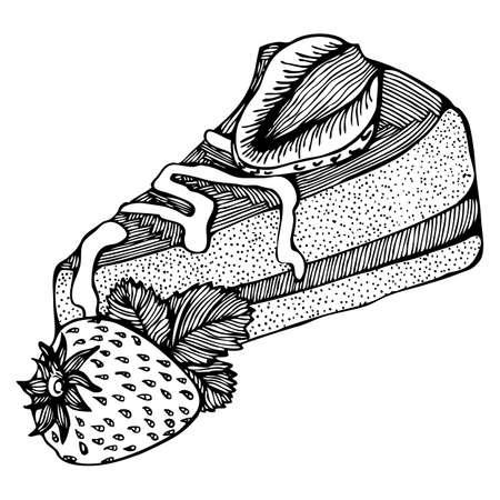 porcion de pastel: Vector de dibujo en blanco y negro con un pedazo de la torta con las fresas Vectores
