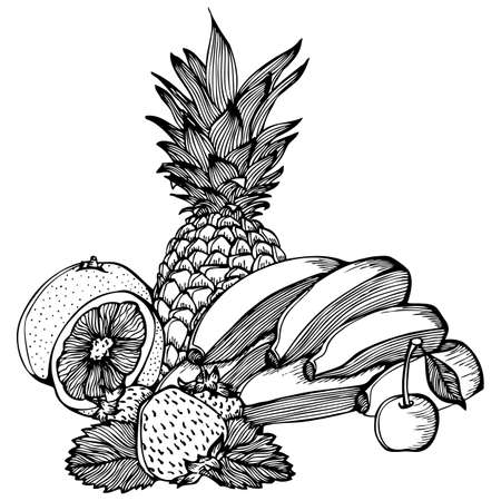 citric: Vector monochrome drawing with fruits bananas lemon strawberry cherry pineapple