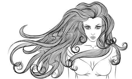 junge nackte m�dchen: Vector Monochrom-Portr�t einer jungen Frau mit langen Haaren Umriss Illustration